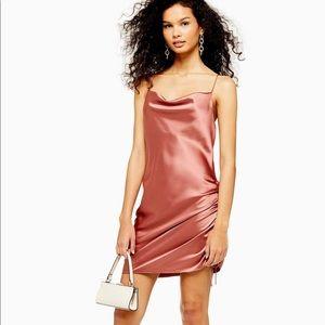 Topshop Dresses - Topshop pink satin ruched dress